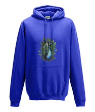 JanaRoos - Hoodie - Packshot - Hand drawn illustration - Round neck - Long sleeves - Cotton - royal blue - peacock - pauw