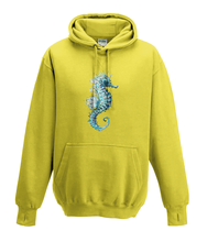JanaRoos - Hoodies - Kids Hoodie - Packshot - Hand drawn illustration - Round neck - Long sleeves - Cotton - yellow - geel - sea horse - zeepaardje