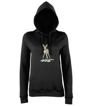 JanaRoos - women's Hoodie - Packshot - Hand drawn illustration - Round neck - Long sleeves - Cotton - jet black - zwart - bambi