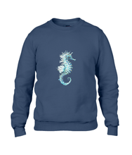 JanaRoos - T-shirts and Sweaters - Sweater - Packshot - Hand drawn illustration - Round neck - Long sleeves - Cotton - navy blue - marine  blauw - Sea-Horse - Zeepaardje