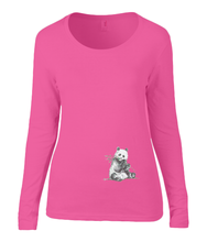 Women T-shirt -  organic cotton - long sleeved - round neck - coral pink - roos - printdesign - drawing - JanaRoos -Panda bear - beer