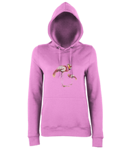 JanaRoos - women's Hoodie - Packshot - Hand drawn illustration - Round neck - Long sleeves - Cotton -candyfloss pink - flamingo's