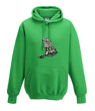 JanaRoos - Hoodies - Kids Hoodie - Packshot - Hand drawn illustration - Round neck - Long sleeves - Cotton - kelly green - groen - iguana - igujana - colored - gekleurd