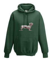 JanaRoos - Hoodies - Kids Hoodie - Packshot - Hand drawn illustration - Round neck - Long sleeves - Cotton -forest green - mosgroen- dachshund - teckel - dog - hond
