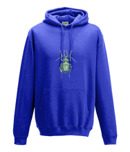JanaRoos - Hoodie - Packshot - Hand drawn illustration - Round neck - Long sleeves - Cotton - royal blue - fel blauw - beetle - kever