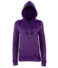 JanaRoos - women's Hoodie - Packshot - Hand drawn illustration - Round neck - Long sleeves - Cotton -purple- Deer black ink