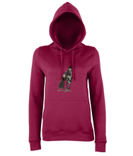JanaRoos - women's Hoodie - Packshot - Hand drawn illustration - Round neck - Long sleeves - Cotton -red hot chilli- Black merrie-horse
