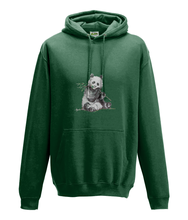 JanaRoos - Hoodie - Packshot - Hand drawn illustration - Round neck - Long sleeves - Cotton - bottle green - panda
