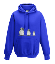 JanaRoos - Hoodies - Kids Hoodie - Packshot - Hand drawn illustration - Round neck - Long sleeves - Cotton - royal blue - royaal blauw - Penguins - Pinguïns