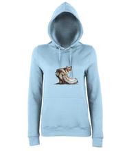 JanaRoos - women's Hoodie - Packshot - Hand drawn illustration - Round neck - Long sleeves - Cotton -sky blue- foxy