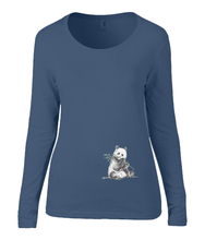 Women T-shirt -  organic cotton - long sleeved - round neck - marine blauw - navy blue - printdesign - drawing - JanaRoos -Panda bear - beer
