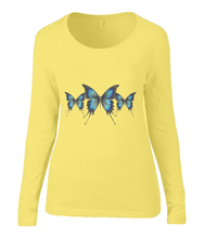 Women T-shirt -  organic cotton - long sleeved - round neck - yellow - geel - printdesign - drawing - JanaRoos - butterflies - vlinders