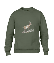 JanaRoos - T-shirts and Sweaters - Sweater - Packshot - Hand drawn illustration - Round neck - Long sleeves - Cotton - city green - khaki groen - gems - mountain goat - berggeit