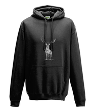 JanaRoos - Hoodie - Packshot - Hand drawn illustration - Round neck - Long sleeves - Cotton - jet black - zwart - deer