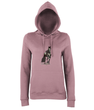 JanaRoos - women's Hoodie - Packshot - Hand drawn illustration - Round neck - Long sleeves - Cotton -dusty pink- Black merrie-horse