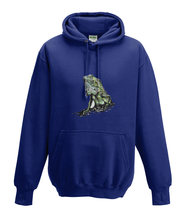 JanaRoos - Hoodies - Kids Hoodie - Packshot - Hand drawn illustration - Round neck - Long sleeves - Cotton - oxford navy blue - marine blauw - iguana - igujana - colored - gekleurd