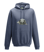 JanaRoos - Hoodie - Packshot - Hand drawn illustration - Round neck - Long sleeves - Cotton - airforce blue -pugg- mops