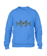 JanaRoos - T-shirts and Sweaters - Unisex Sweater - Packshot - Hand drawn illustration - Round neck - Long sleeves - Cotton - Royal navy blue- royaal blauw- blue butterflies - vlinders