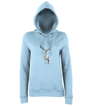 JanaRoos - women's Hoodie - Packshot - Hand drawn illustration - Round neck - Long sleeves - Cotton - sky blue - deer- black&white