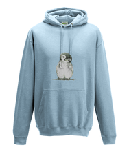 JanaRoos - Hoodie - Packshot - Hand drawn illustration - Round neck - Long sleeves - Cotton -sky blue - penguin