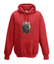 JanaRoos - Hoodies - Kids Hoodie - Packshot - Hand drawn illustration - Round neck - Long sleeves - Cotton - fire red - vuurrood - golden lion monkey - leeuwaapje