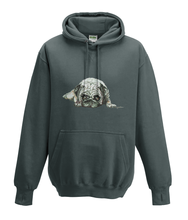 JanaRoos - Hoodies - Kids Hoodie - Packshot - Hand drawn illustration - Round neck - Long sleeves - Cotton - charcoal grey -grijs - pugg - mops - dog - hond