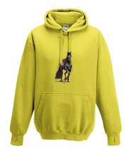 JanaRoos - Hoodies - Kids Hoodie - Packshot - Hand drawn illustration - Round neck - Long sleeves - Cotton - yellow - geel - horse - black merrie - paard