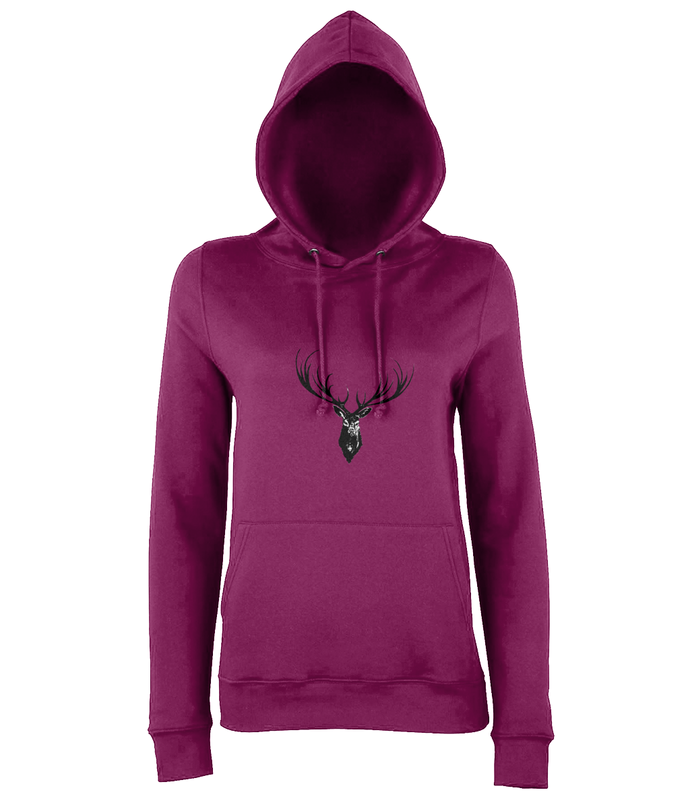 JanaRoos - women's Hoodie - Packshot - Hand drawn illustration - Round neck - Long sleeves - Cotton -Burgundy- Deer black ink