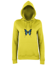 JanaRoos - women's Hoodie - Packshot - Hand drawn illustration - Round neck - Long sleeves - Cotton -yellow- butterfly