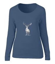 Women T-shirt -  organic cotton - long sleeved - round neck - navy blue - marine blauw - printdesign - drawing - JanaRoos - reindeer - deer - rendier - hert