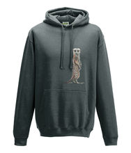 JanaRoos - Hoodie - Packshot - Hand drawn illustration - Round neck - Long sleeves - Cotton - charcoal grey- Meerkat - stokstaartje