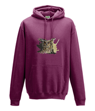JanaRoos - Hoodie - Packshot - Hand drawn illustration - Round neck - Long sleeves - Cotton - burgundy - coffee owl - koffieuil