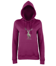JanaRoos - women's Hoodie - Packshot - Hand drawn illustration - Round neck - Long sleeves - Cotton -burgundy- deer colored