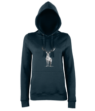 JanaRoos - women's Hoodie - Packshot - Hand drawn illustration - Round neck - Long sleeves - Cotton - Marine blue - deer- black&white