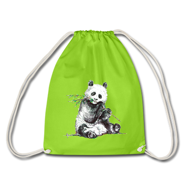 JanaRoos - Accessoires - Drawstring bag - bag - Packshot - Hand drawn illustration - Cotton - Apple green - groen - panda bear - beer