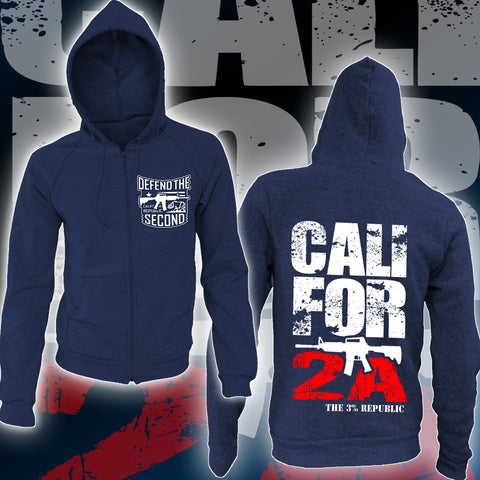 """Cali for 2A"" Full Zip Hoodie- Navy"