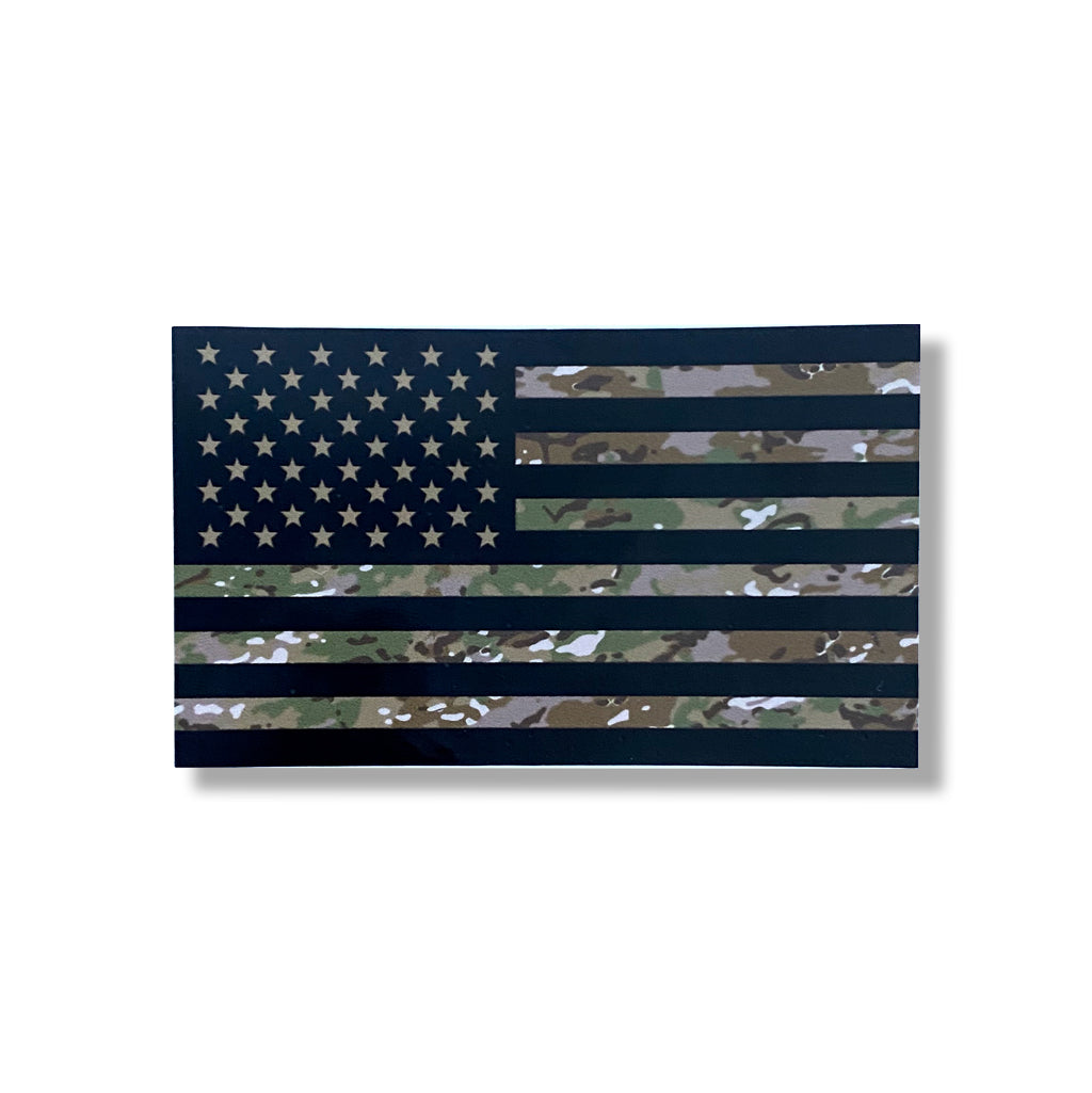 Army / Air Force Combat Flag Decal - Camo American Flag