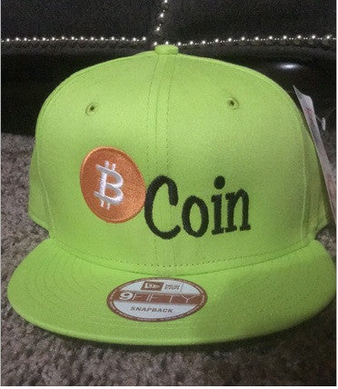 New Era Flat Bill Snapback Hat with bitcoin icon