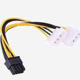 16AWG Dual molex 4pin to pcie 8pin cable ,extra power for your graphics card