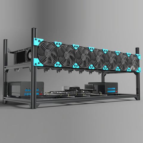 All aluminum 8 GPU case ,open frame computer case
