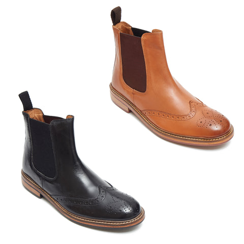 Mens Leather Brogue Chelsea Boots - 17922