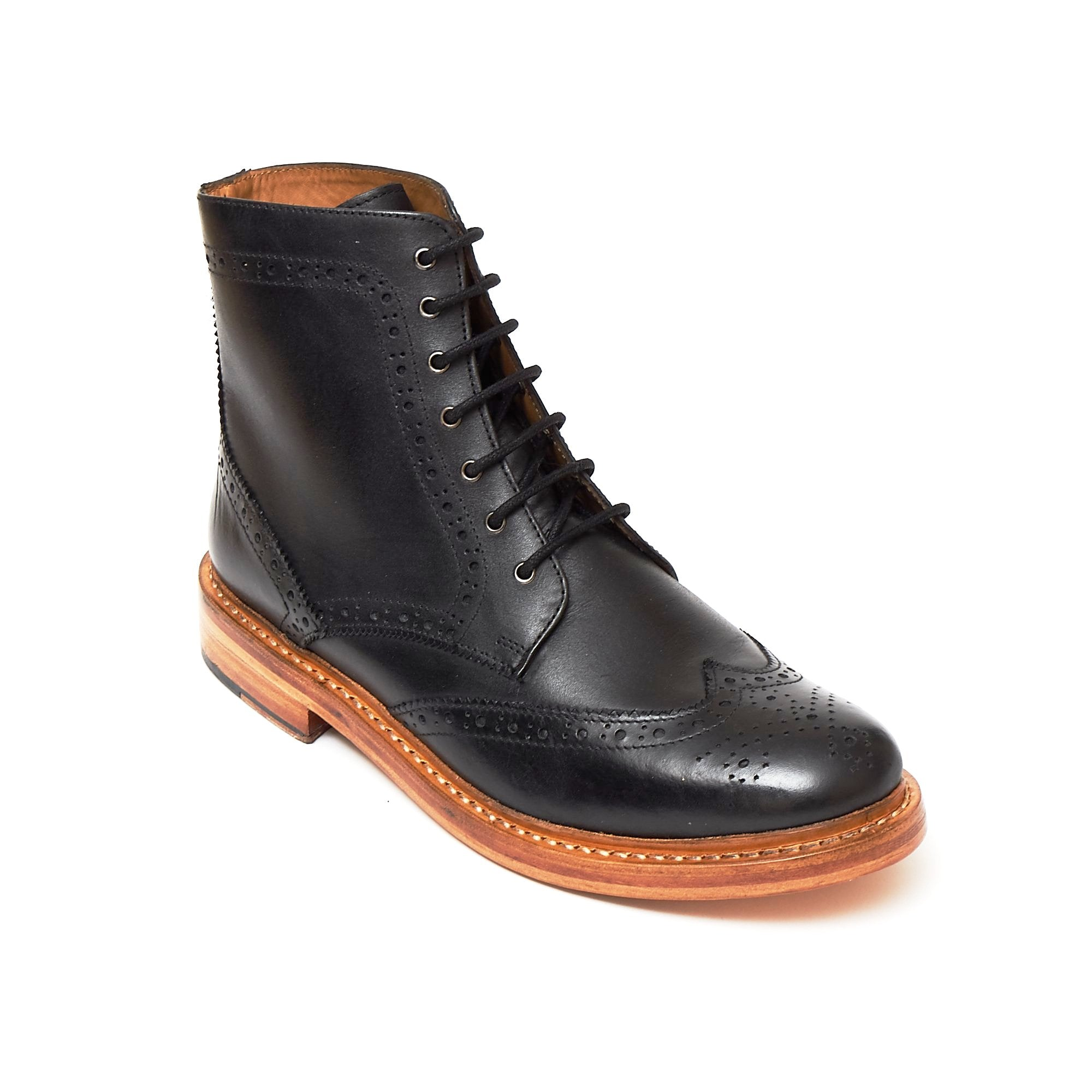 Mens Leather Goodyear Welted Lace Up Boots - 17939 Black