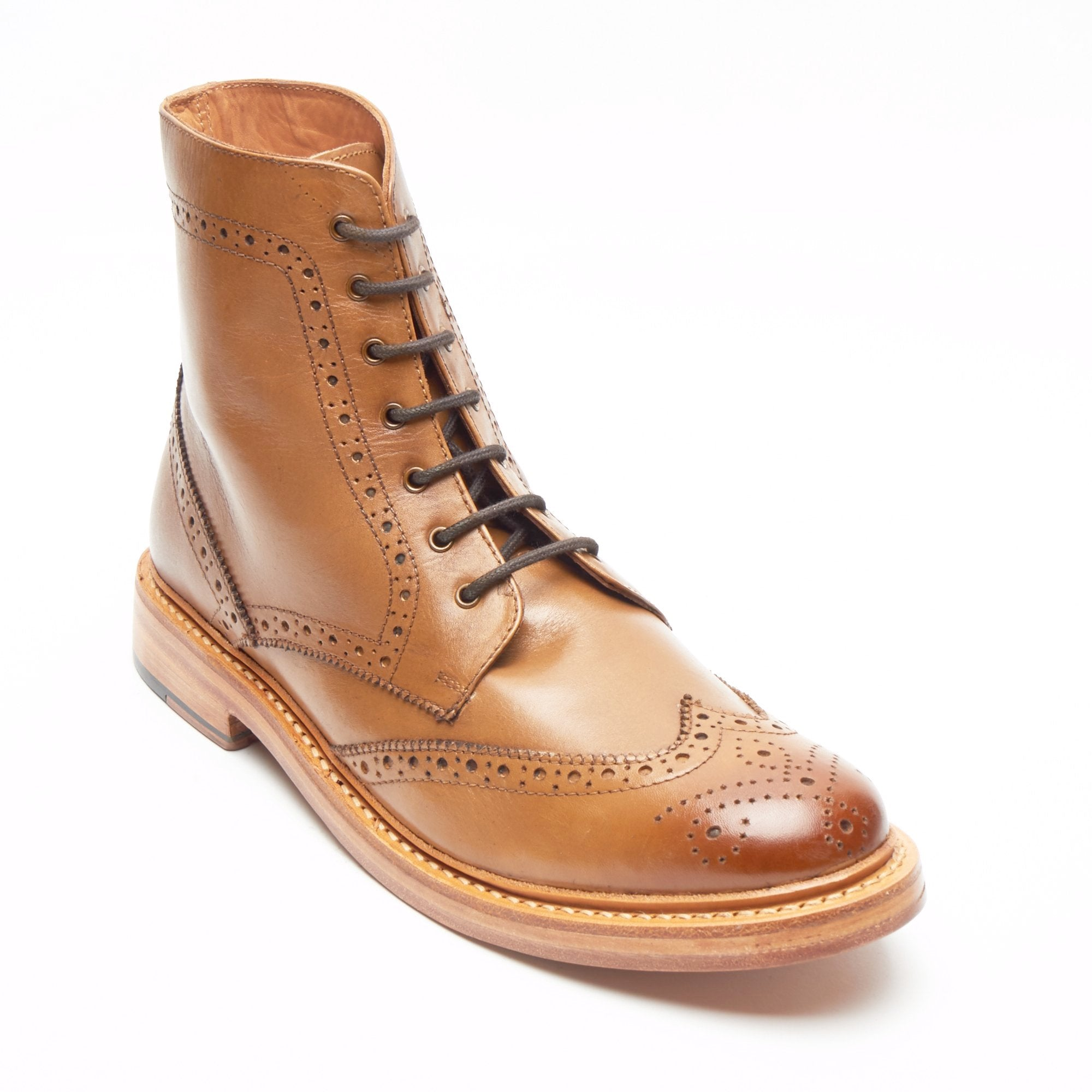 Mens Leather Goodyear Welted Lace Up Boots - 17939 Tan