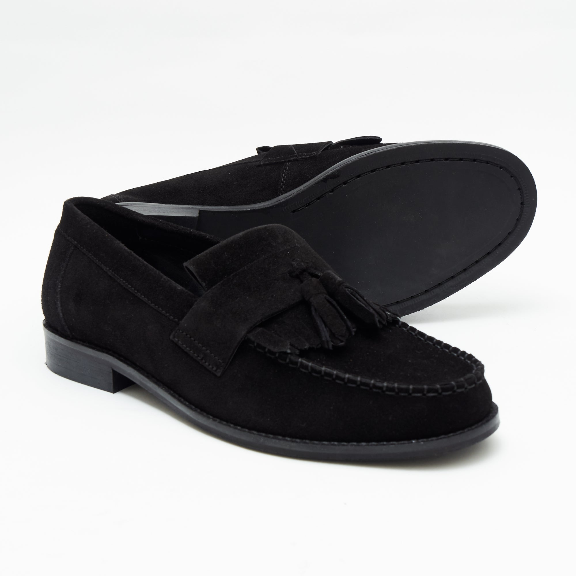 Mens Formal Moccasin Shoes 17999_Black Suede