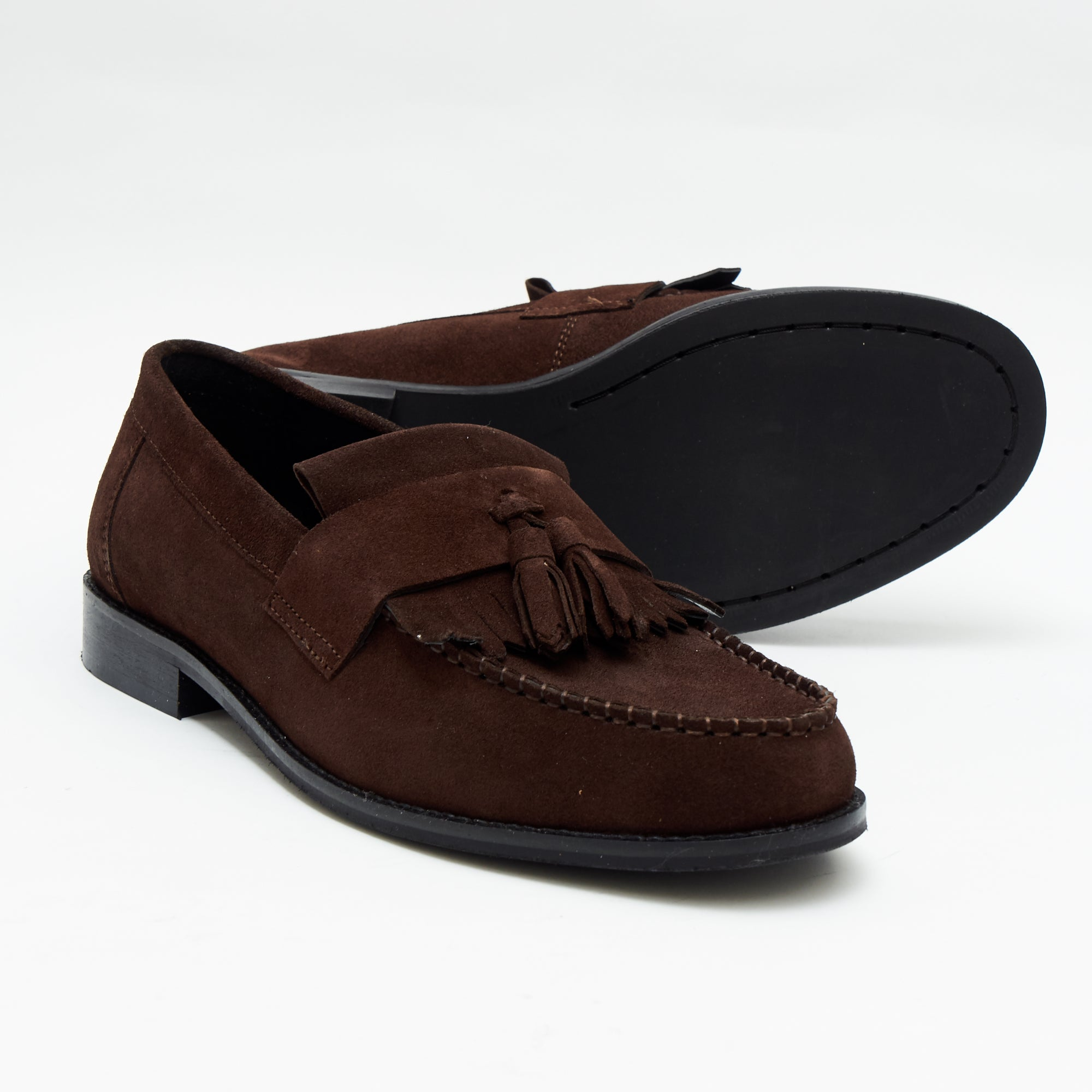 Mens Formal Moccasin Shoes 17999_Brown Suede