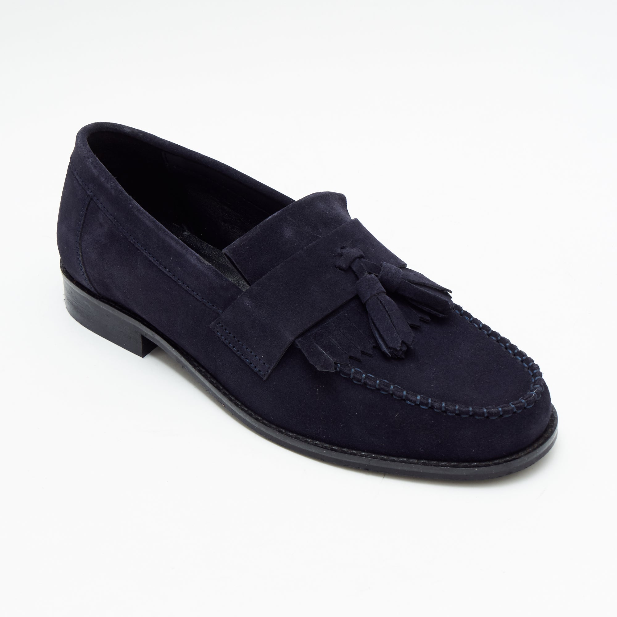 Mens Formal Moccasin Shoes 17999_Navy Blue Suede