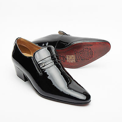 Mens Leather Cuban Heel Patent Shoes - 29779 Black