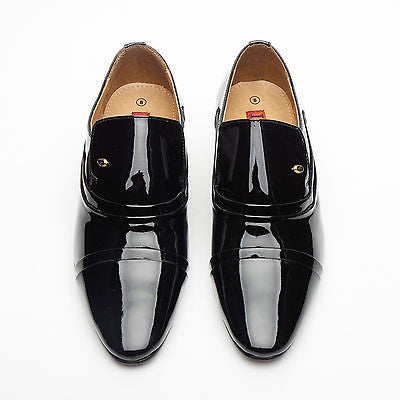 Mens Leather Cuban Heel Patent Shoes - 26287 Black