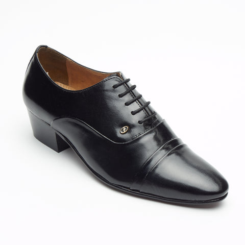 Mens Cuban Heel Leather Shoes - 26286 Black
