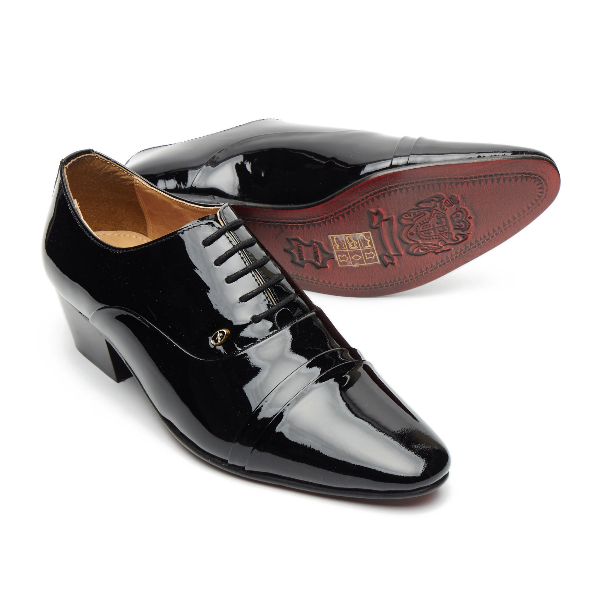 Mens Leather Cuban Heel Patent Shoes - 26286 Black